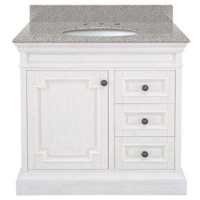 Cailla 37 in. W x 22 in. D Bath Vanity in White Wash with Granite Vanity Top in Napoli with White Basin