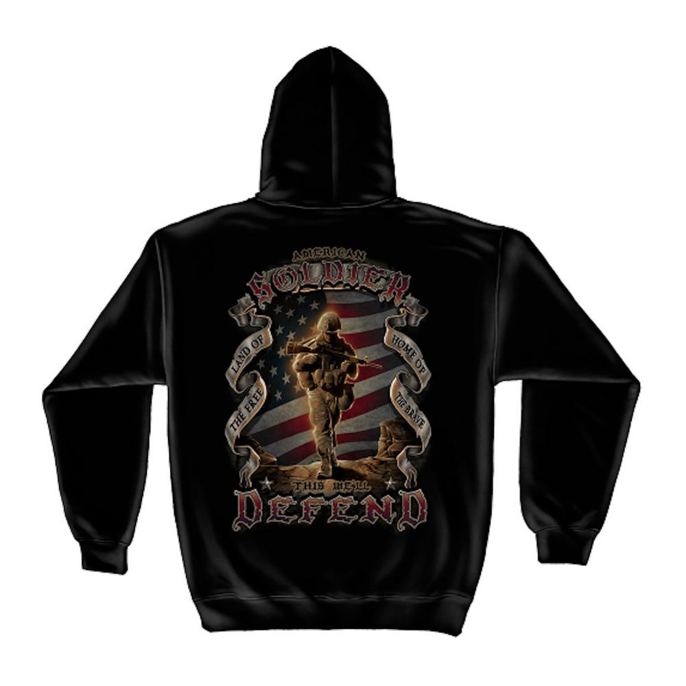 Men's Large Black Cotton Long Sleeved American Soldier Hoodie