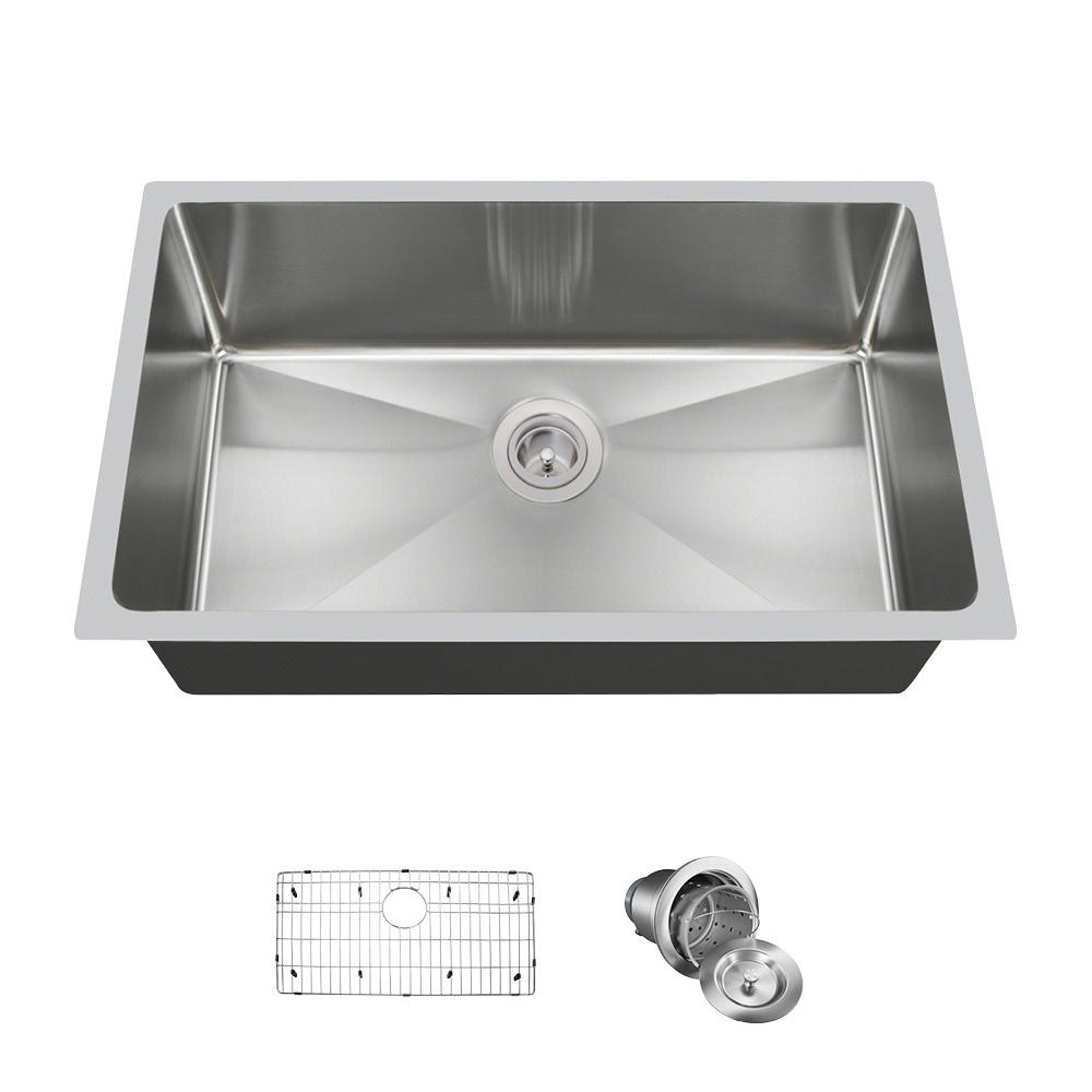 All-in-One Undermount Stainless Steel 31-1/4 in. Single Bowl Kitchen Sink