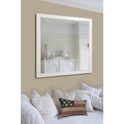 27.5 in. x 33.5 in. Polished White Non Beveled Vanity Wall Mirror