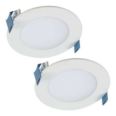 HLB 4 in. Selectable CCT New Construction and Remodel Canless Recessed Integrated LED Direct Mount Kit (2-Pack)