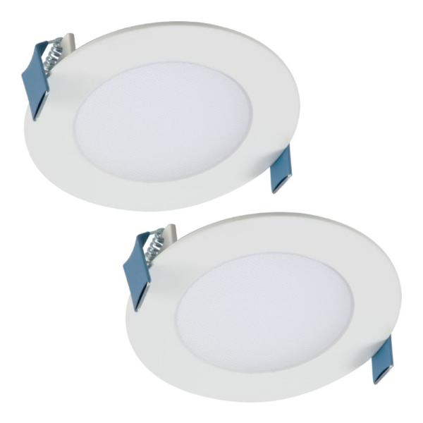 HLB 4 in. Color Selectable New Construction or Remodel Canless Recessed Integrated LED Kit (2-Pack)