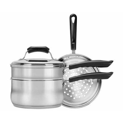 Basics 3 Qt. Double Boiler and Steamer with Lid in Stainless Steel (Set of 4)