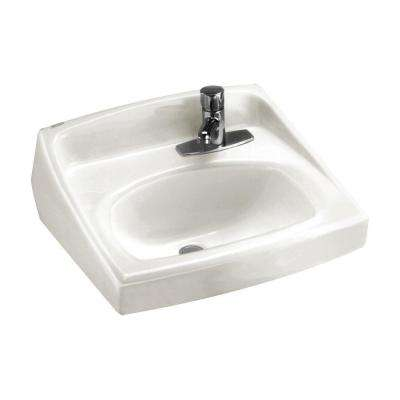 Lucerne Wall Hung Bathroom Sink in White with Single Faucet Hole on Right
