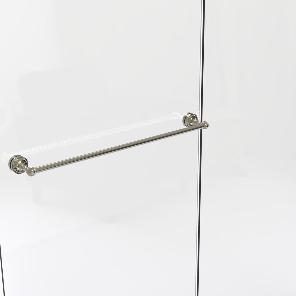 Dottingham Collection 30 in. Shower Door Towel Bar in Polished Nickel