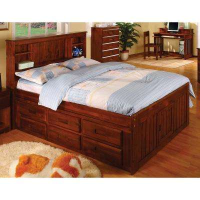 Hamilton Dark Cherry Full 6-Drawer Bookcase Captains Bed