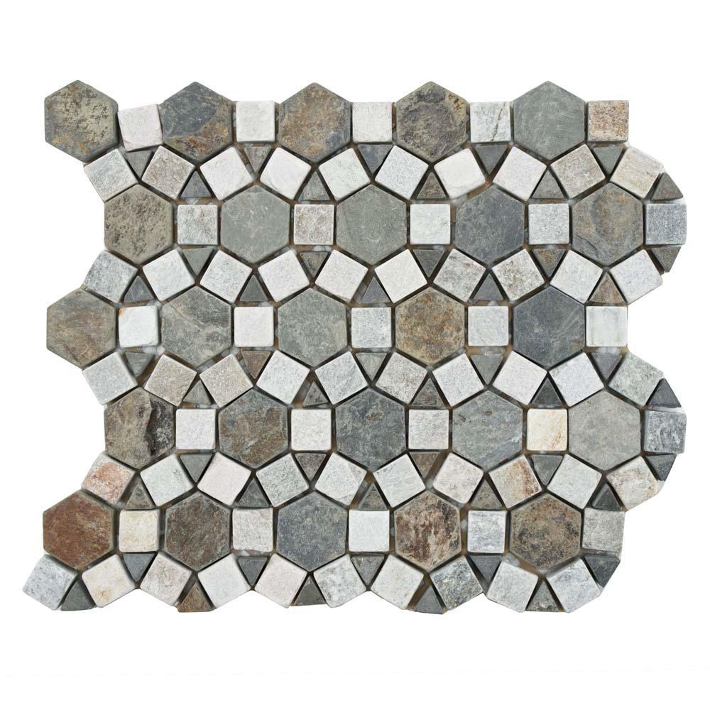 Merola Tile Crag Aztec Multi Sunset 10 1 4 In X 11