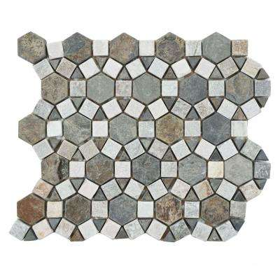 Crag Aztec Multi Sunset 10-1/4 in. x 11-1/4 in. x 9 mm Slate Mosaic Tile