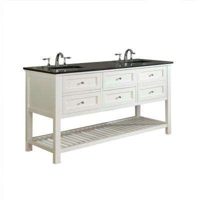Mission Spa 70 in. Double Vanity in Pearl White with Granite Vanity Top in Black