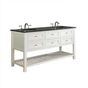 Click here to buy Direct vanity sink Mission Spa 70 inch Double Vanity in Pearl White with Granite Vanity Top in Black by Direct vanity sink.