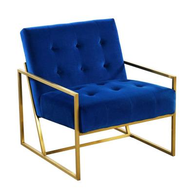 Blue Velvet Tufted Dining Arm Chair with Golden Base