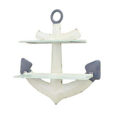 24.5 in. White Metal Anchor Shelf