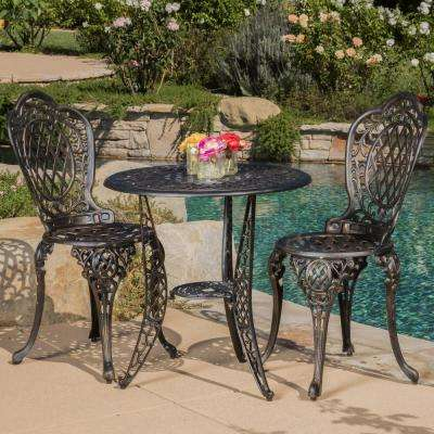 Cole Bronze 3-Piece Aluminum Round Outdoor Bistro Set