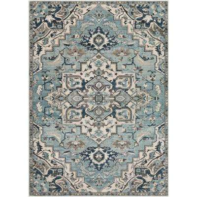 Cairo Teal/Ivory 3 ft. x 5 ft. Oriental Area Rug