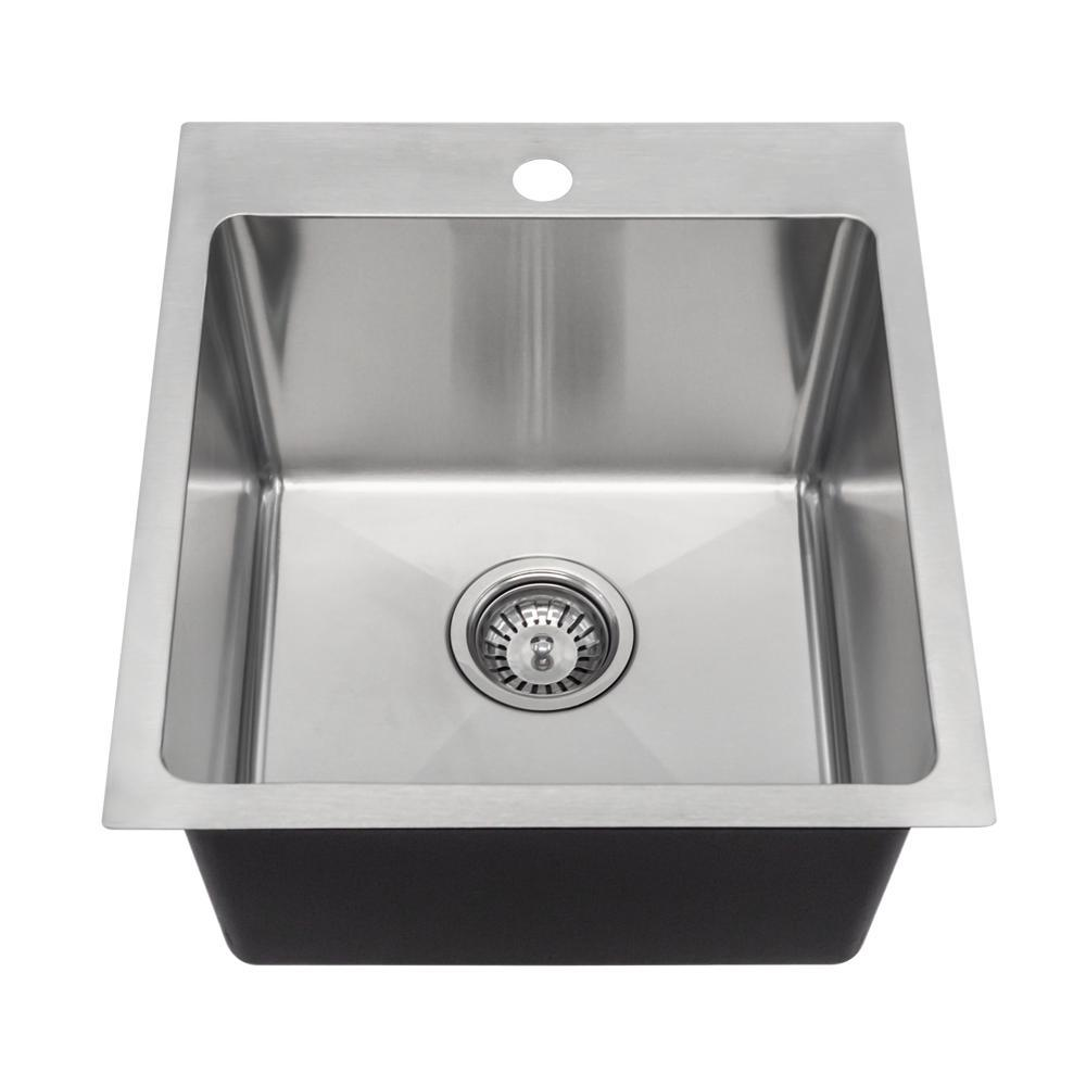 Mr Direct Drop In Stainless Steel 17 1 Hole Single Bowl Kitchen Sink