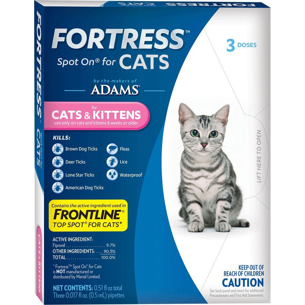 Fortress by Adams Flea and Tick Topical for Cats and Kittens 3 Doses