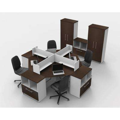 14-Piece White/Espresso Office Reception Desk Collaboration Center
