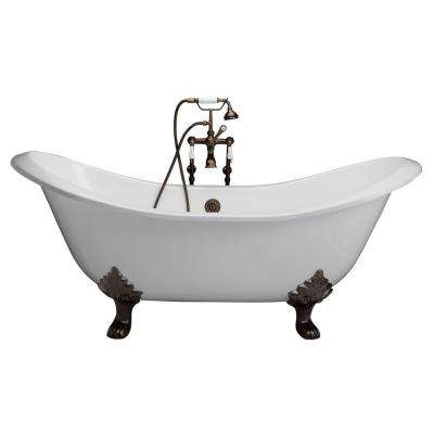 5.9 ft. Cast Iron Lion Paw Feet Double Slipper Tub in White with Oil Rubbed Bronze Accessories