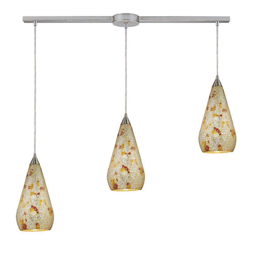 Curvalo 3-Light Satin Nickel Ceiling Mount Pendant