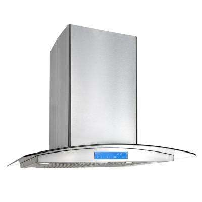 30 in. Ducted Island Mount Range Hood in Stainless Steel with LED Lighting and Permanent Filters