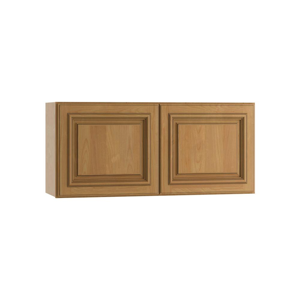 Clevedon Assembled 30x15x12 in. Double Door Wall Kitchen Cabinet in Toffee