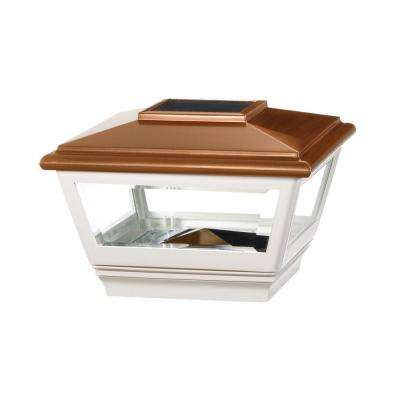 4 in. x 4 in. Vinyl Solar Light Copper Top Square Post Cap with White Base