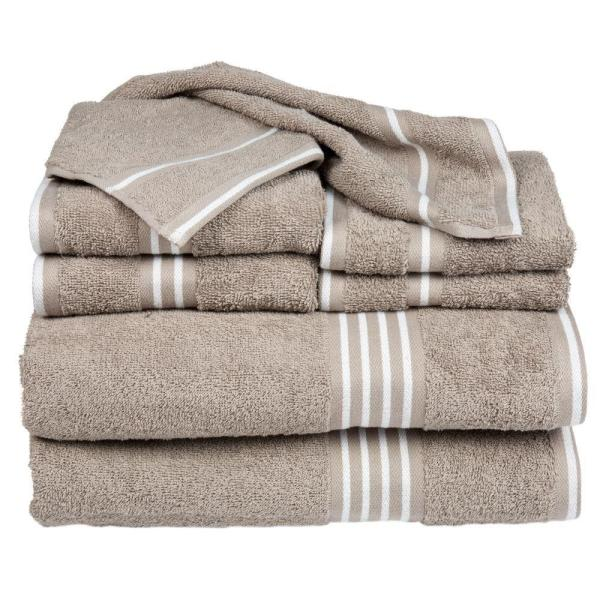 be371d21c10a Lavish Home Rio Egyptian Cotton Towel Set in Taupe (8-Piece) 67-0022 ...