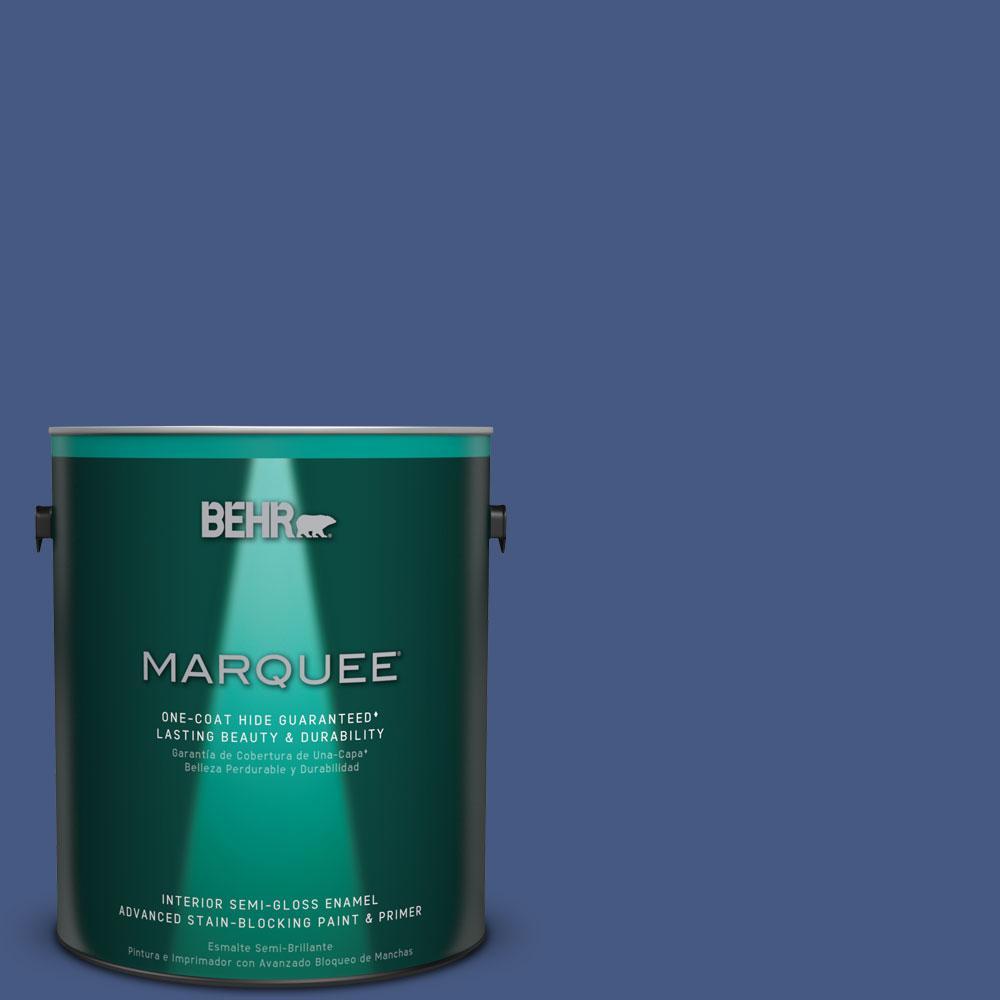 1 gal. #M540-7 Optimum Blue One-Coat Hide Semi-Gloss Enamel Interior Paint