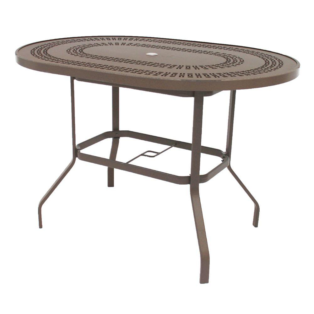 Marco Island 42 In X 60 Brownstone Oval Commercial Aluminum Bar Height Patio Dining Table