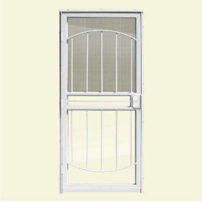 36 in. x 80 in. 555 Series Tuscany White Steel Prehung Security Door