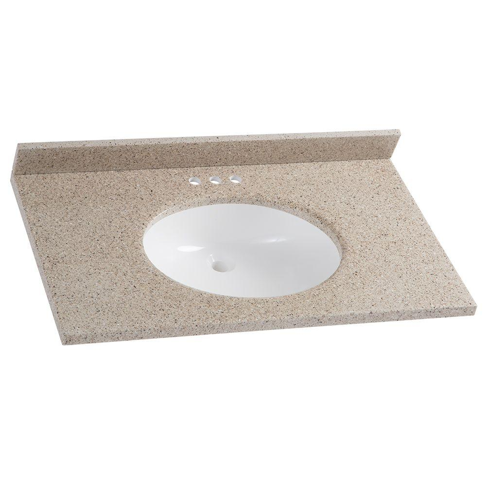 37 in. W x 22 in. D Solid Surface Vanity Top