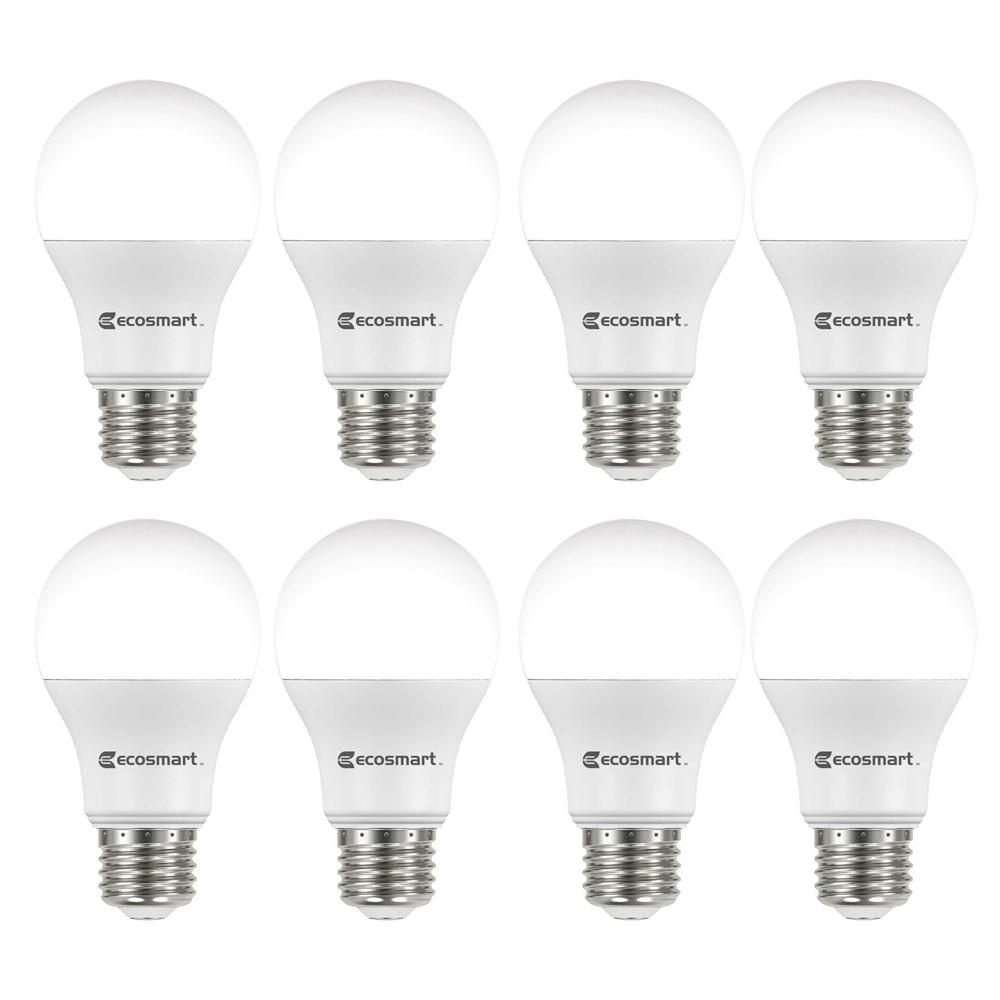EcoSmart 60-Watt Equivalent A19 Non-Dimmable LED Light Bulb Daylight (8-Pack)