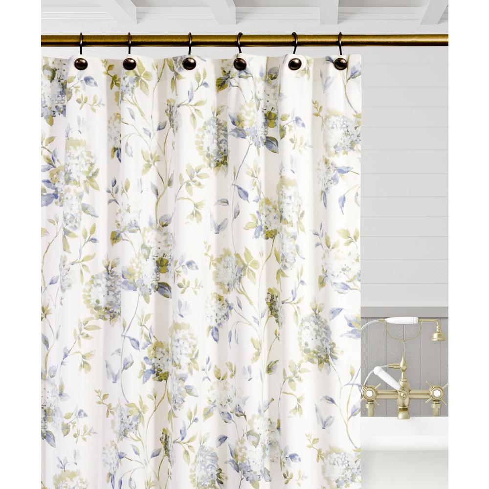 Abigail 72 in. Porcelain Floral Shower Curtain
