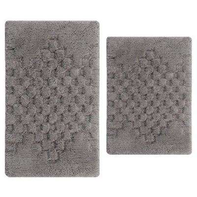 Melange Silver 17 in. x 24 in. and 34 in. x 21 in. 2-Piece Bath Rug Set