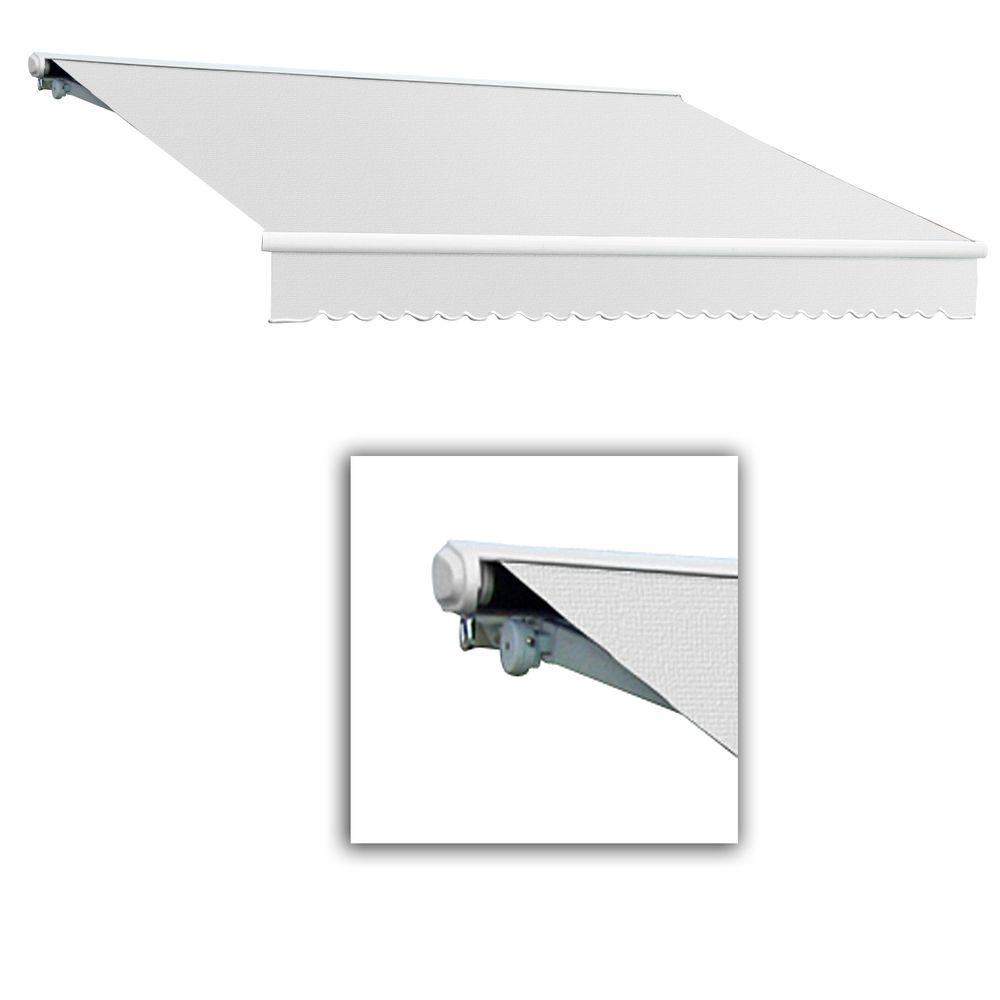 AWNTECH 16 ft. Galveston Semi-Cassette Left Motor with Remote Retractable Awning (120 in. Projection) in Off White