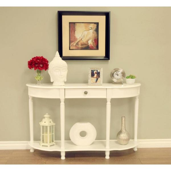 Homecraft Furniture White Storage Console Table WH1598