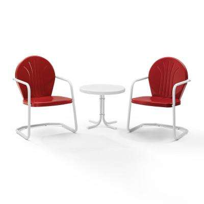 Griffith Red 3-Piece Metal Conversation Set