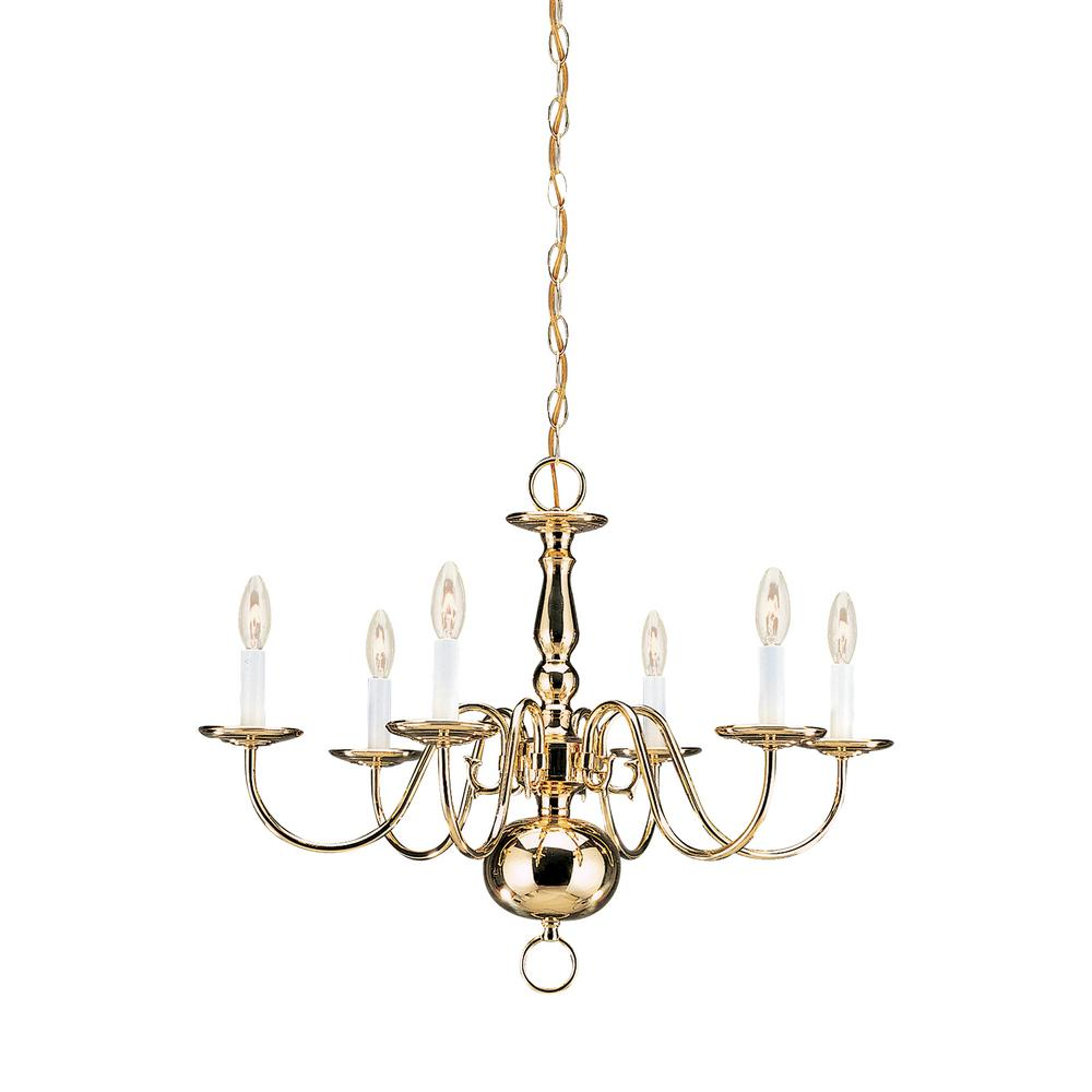 Sea gull lighting traditional 6 light polished brass chandelier with dimmable candelabra led bulb