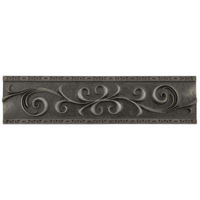 Contempo Wrought Iron Scroll Liner 3 in. x 12 in. Mixed Material Wall Trim Tile