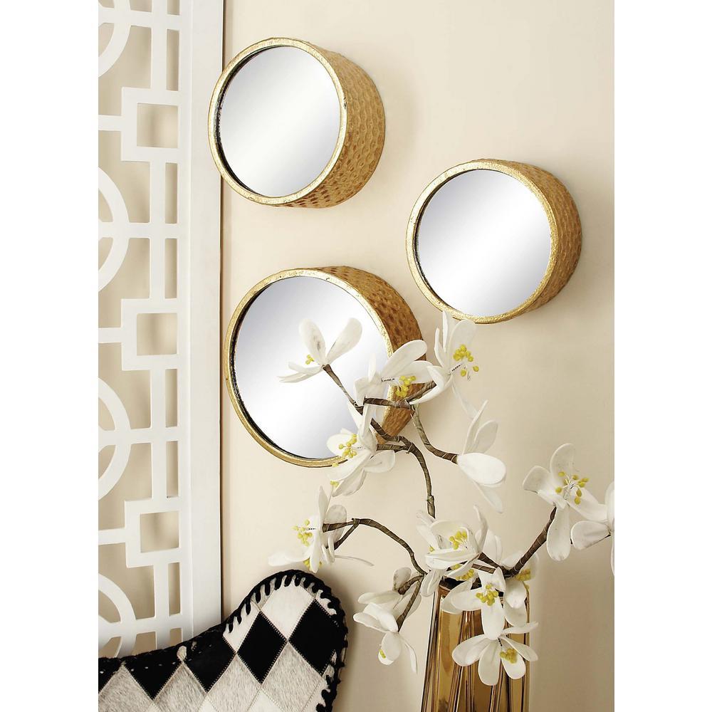 7-Piece Round Gold Decorative Framed Mirror Set