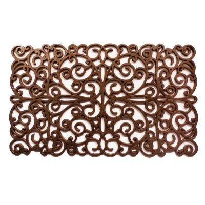 Bronze Scroll Rubber Door Mat 18 in. x 30 in.