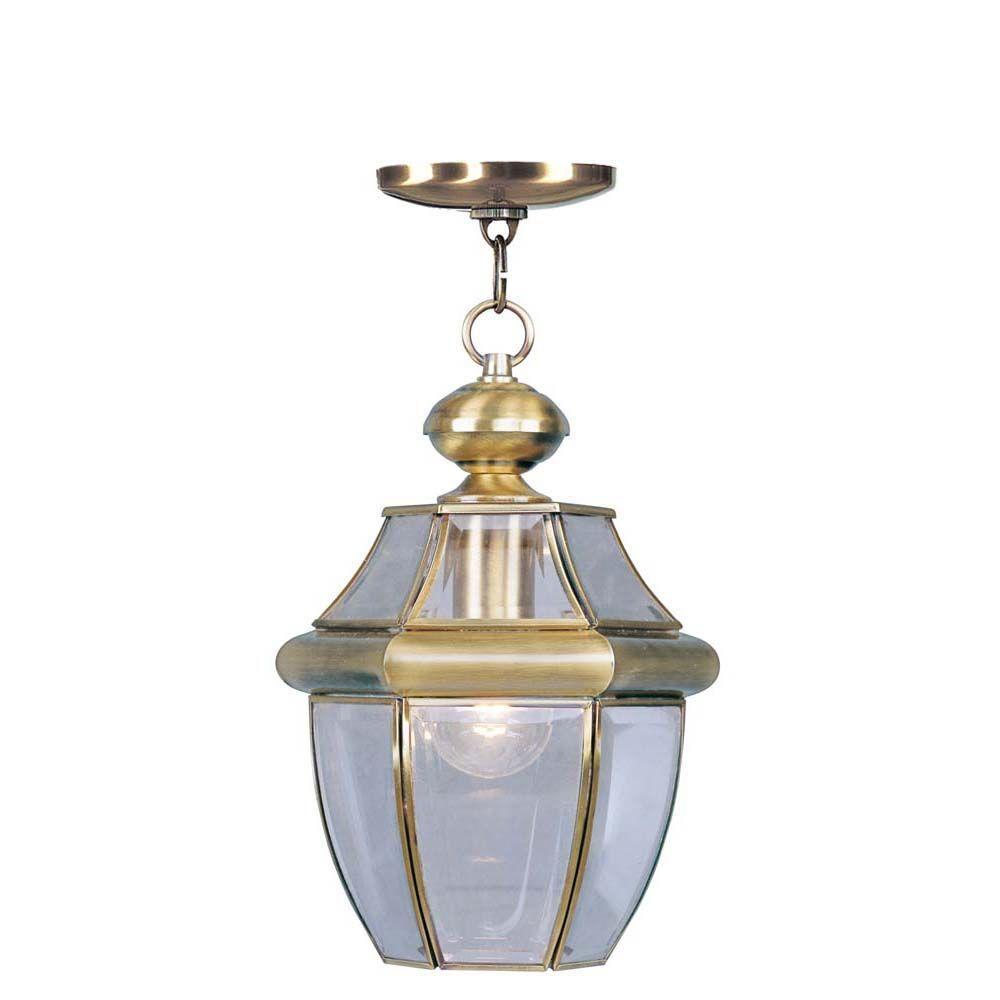 Monterey 1 Light Antique Brass Outdoor Pendant Lantern