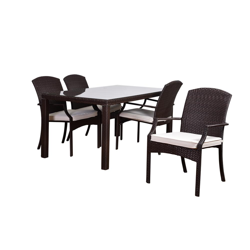 Atlantic Sanibel 5-Piece Synthetic Wicker Square Patio Dining Set with Off-White