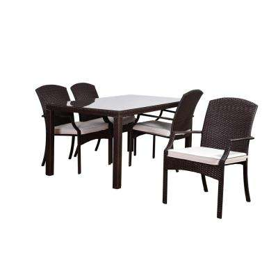 Atlantic Sanibel 5-Piece Synthetic Wicker Square Patio Dining Set with Off-White Cushions