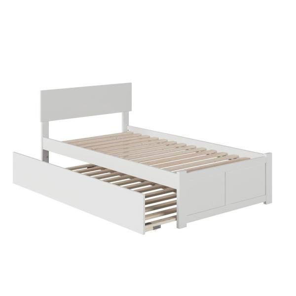 Orlando White Twin Platform Bed with Flat Panel Foot Board and Twin Size Urban Trundle Bed