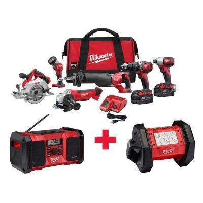 M18 18-Volt Lithium-Ion Cordless Combo Kit (6-Tool) with Free M18 Radio and M18 LED Flood Light
