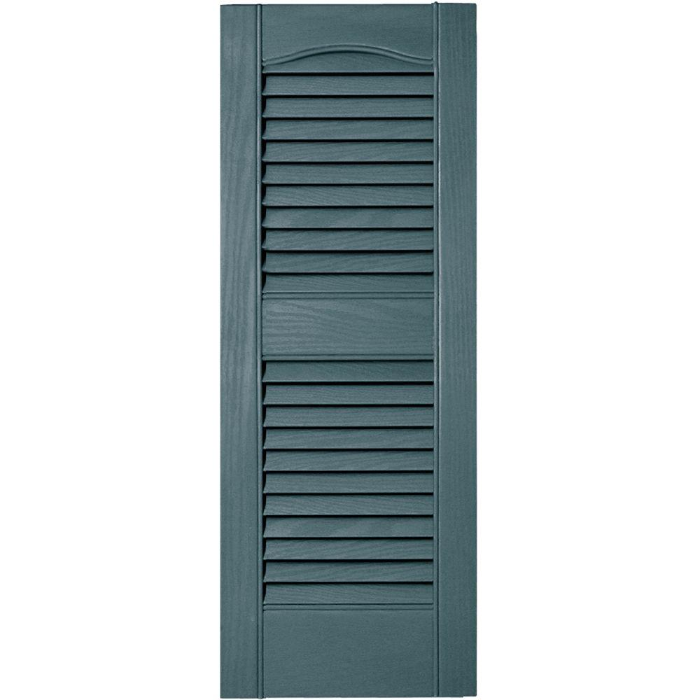 Builders edge 12 in x 31 in louvered vinyl exterior shutters pair in 004 wedgewood blue for Home depot exterior vinyl window shutters