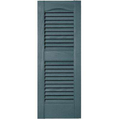 12 in. x 31 in. Louvered Vinyl Exterior Shutters Pair in #004 Wedgewood Blue