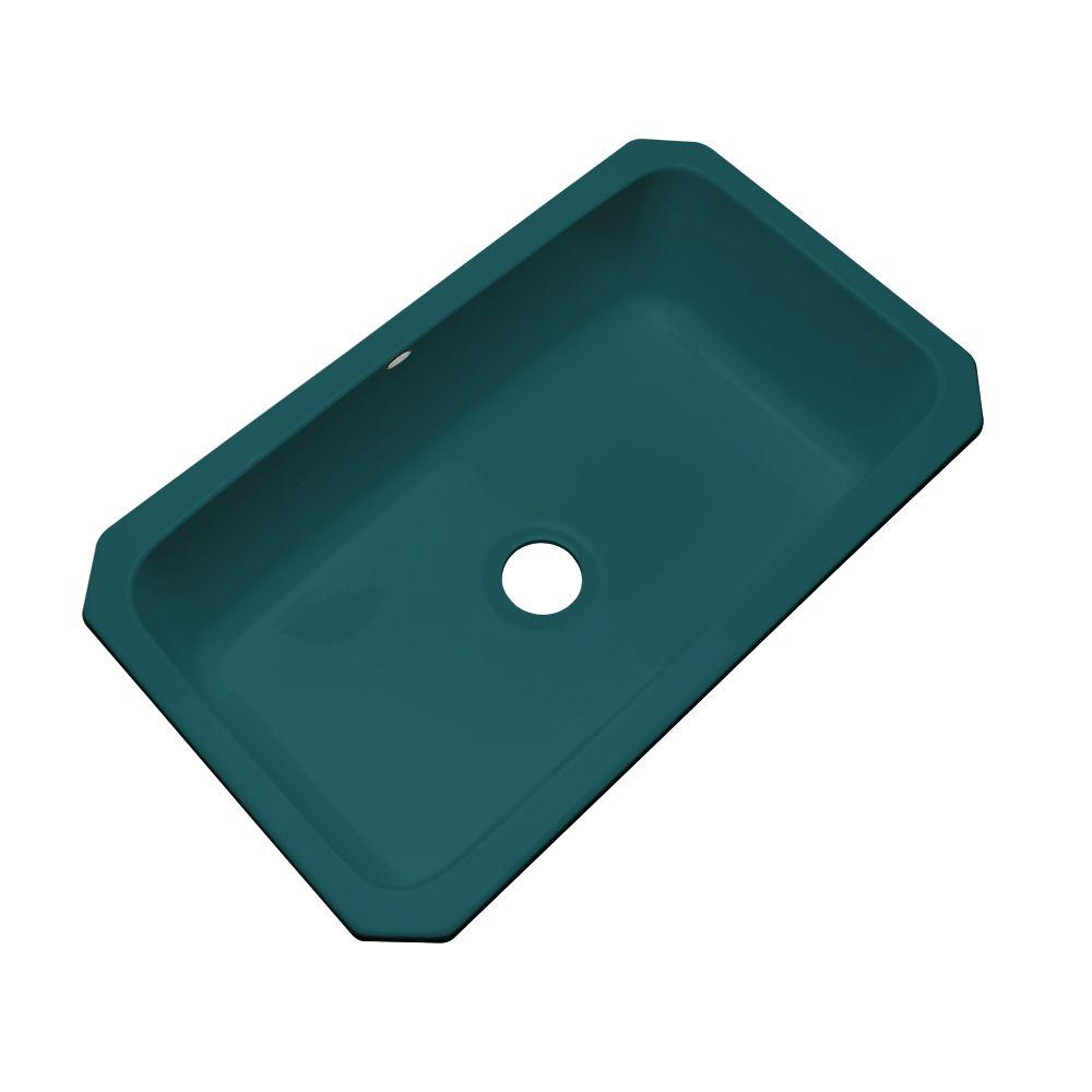 Thermocast Manhattan Undermount Acrylic 33 in. Single Bowl Kitchen Sink in Teal