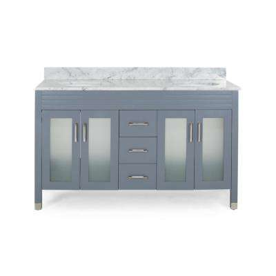 Halston 60 in. W x 22 in. D Bath Vanity with Carrara Marble Vanity Top in Grey with White Basin
